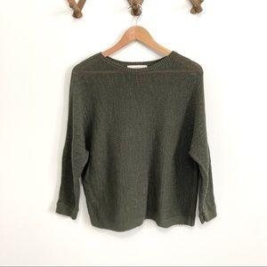 Loft Knit Sweater Green Batwing Sleeve Oversized